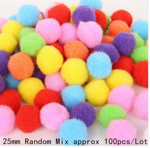 100PCS Random Mixed Color Pompom Soft Pom Pom Balls