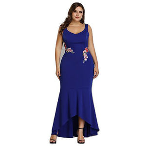 Embroidery Roses Mermaid Plus Size 5XL Dress Maxi Sexy