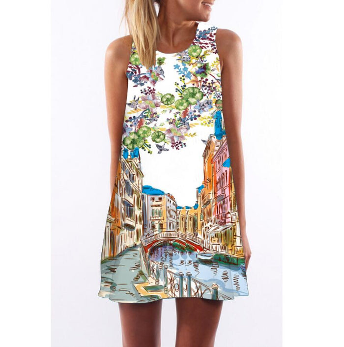 Floral Print Boho Dresses Beach Sundress Sleeveless