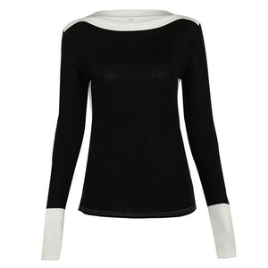 Cotton Long Sleeve Patchwork Knitted Tops