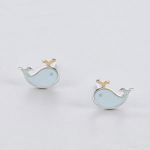 925 Sterling Silver Blue Whale Stud Earrings