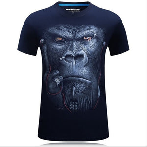 Men's animal T-Shirt orangutan/gas monkey/Wolf 3D Printed