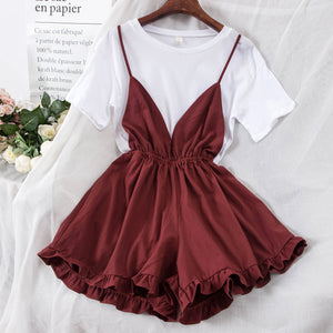 Summer Women's Simple T-shirt + Suspender Wide Skirt