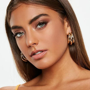 Dvacaman Gold&Silver Color Metal Drop Earring