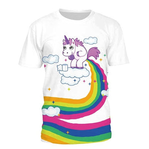 Unicorn Cloud 3D Printing Rainbow T-Shirt