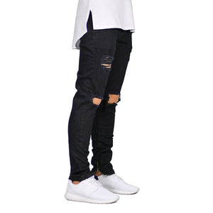 Men Destroyed Ripped Design Ankle Zipper Skinny Jeans