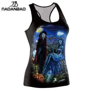 Arrival Tank Top Women Halloween Corpse Bride Blusa Jack-o'-lantern Pirnted Sleeveless Tops