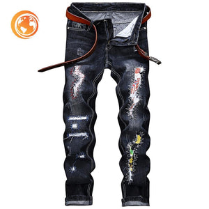 Straight Leg Graphic Applique Insert Distressed Jeans