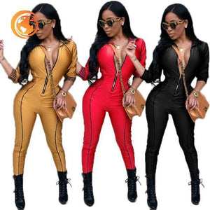 Sexy zipper club bodycon jumpsuit