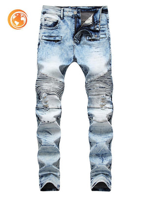 Ripped Acid Wash Pleated Patchwork Jeans