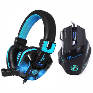 7 Buttons 5500 DPI Professional Gaming Mouse+Heavy Bass Games LED Light Gaming Headphone