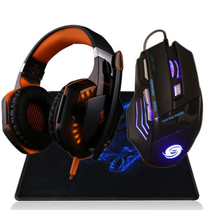 Professional 3200 DPI 7 Button 7D LED USB Wired Gaming Mouse Mice+Over-ear Gamer Headset