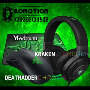 Razer Deathadder chroma Gaming Mouse+ Kraken 7.1 Chroma Gaming Headset+ Gift Gaming Mousepad