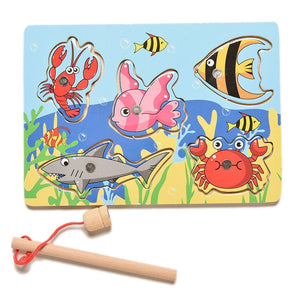 Children Fishing Game & Wooden Ocean Jigsaw Puzzle Board Magnetic Rod