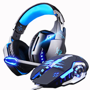 Gaming Headset Casque Headphone + Gaming Mouse Mice 3200 DPI