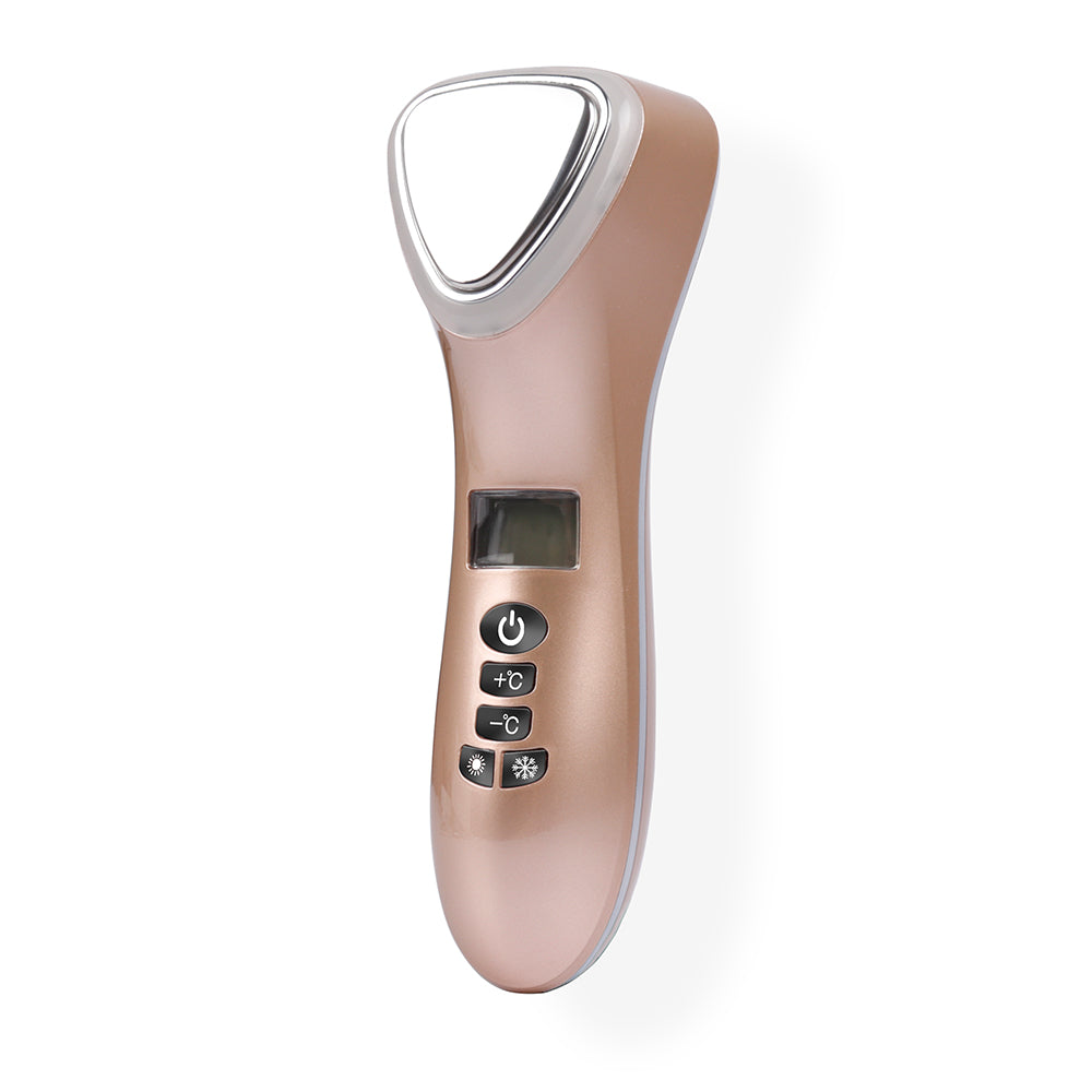 Triangle Ultrasonic LED Hot Cold Hammer Facial Lifting Vibration Massager - ibeautyneed