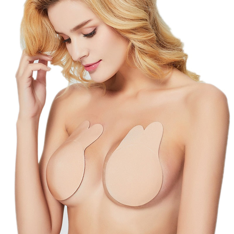 1Pair Silicone Rabbit Push Up Breast Lift Tape Adhesive Invisible Bra Nipple Cover-iBeautyneed