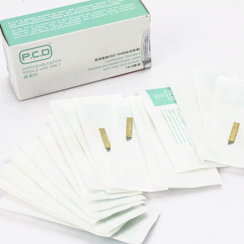 100 pcs PCD 12 Pin Permanent Makeup Eyebrow Tatoo Blade Microblading Needles - ibeautyneed