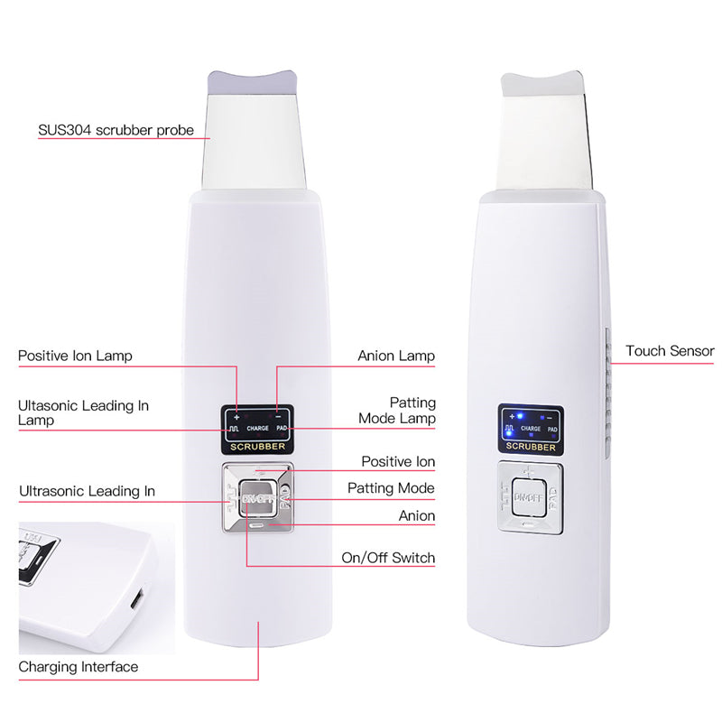 Ultrasonic Derma Ion Skin Scrubber Facial Peeling Extractor Face Clean Device-iBeautyneed