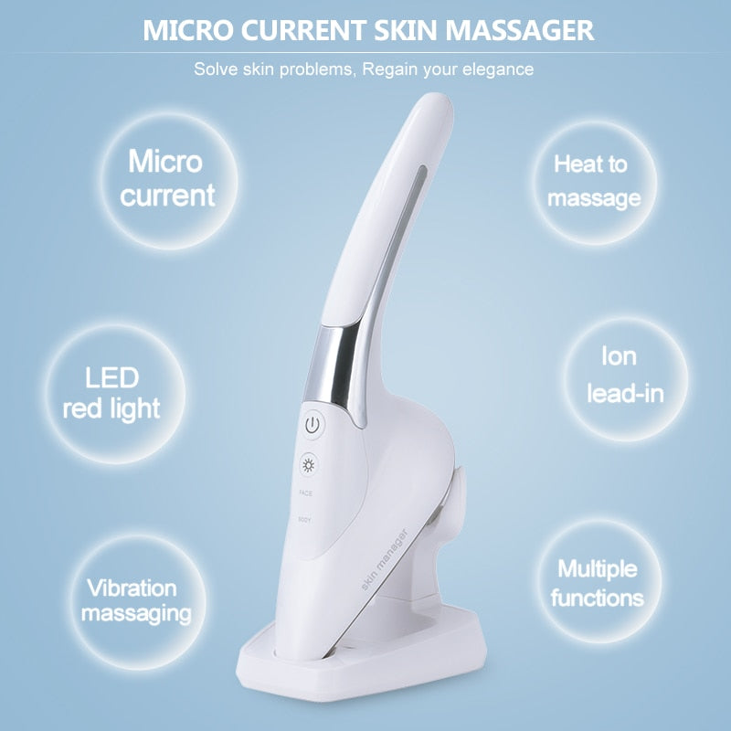 Micro-Current Negative Ion Skin Iron Facial Skin Lifting Vibration Massager - ibeautyneed