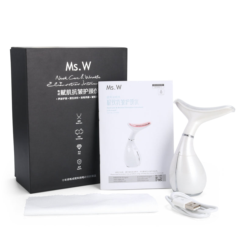 Ms.W 3 Color LED Light Neck Care Vibration Anti Aging Massager-iBeautyneed