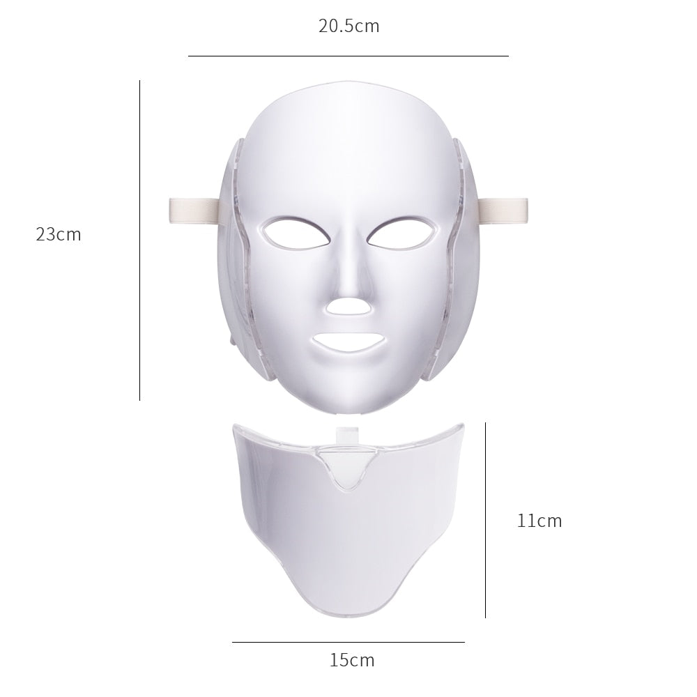 7 Colors LED Facial with Neck Mask Skin Rejuvenation Photon Therapy Light Mask-iBeautyneed