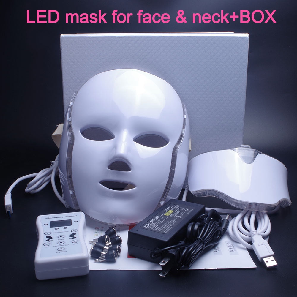 7 Colors LED Facial with Neck Mask Skin Rejuvenation Photon Therapy Light Mask - ibeautyneed