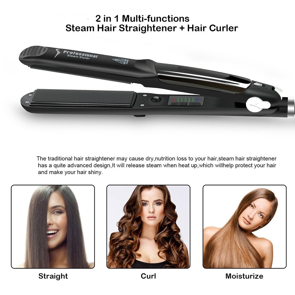 Professional 450F Steam Ceramic Vapor Steam Hair Straightener Iron-iBeautyneed