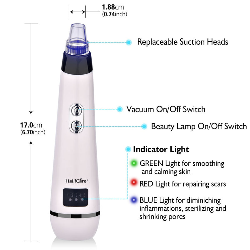 5 Levels 5 Heads Vacuum Blackhead Acne Removal Suction Machine with Led Light-iBeautyneed