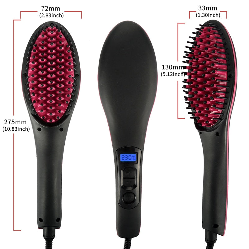 Professional LCD Display Smooth Hair Brush Comb Hair Straightener-iBeautyneed