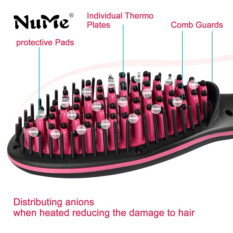 Professional LCD Display Smooth Hair Brush Comb Hair Straightener - ibeautyneed