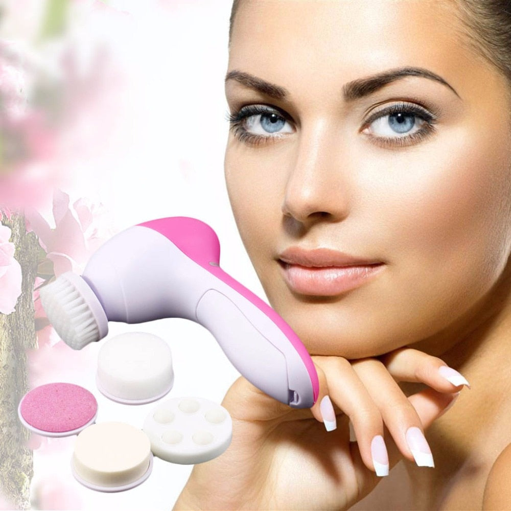 5 in 1 Waterproof Facial Cleansing Brush and Massager - ibeautyneed