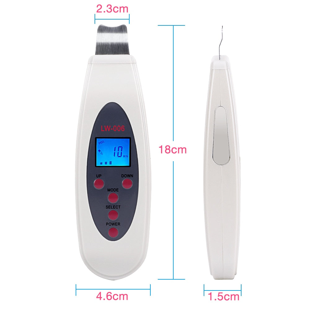 Portable LCD Ultrasonic Facial Skin Scrubber Spatula with Infusion LW-006 - ibeautyneed