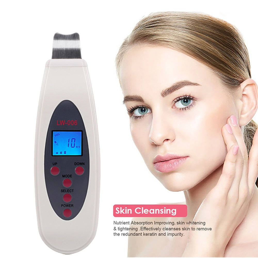 Portable LCD Ultrasonic Facial Skin Scrubber Spatula with Infusion LW-006-iBeautyneed