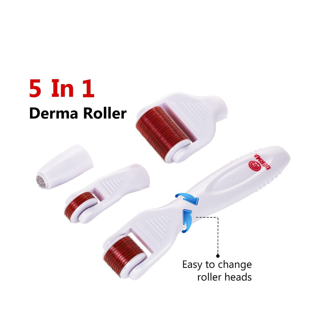 5 in 1 Titanium Micro Needle Derma Roller Skin Care Kit Anti-Aging Kit - ibeautyneed