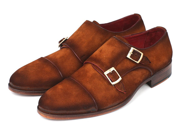 Paul Parkman Men's Captoe Double Monkstrap Camel Suede