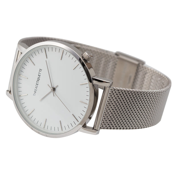 Classic - Silver Mesh/ White Face Timepiece