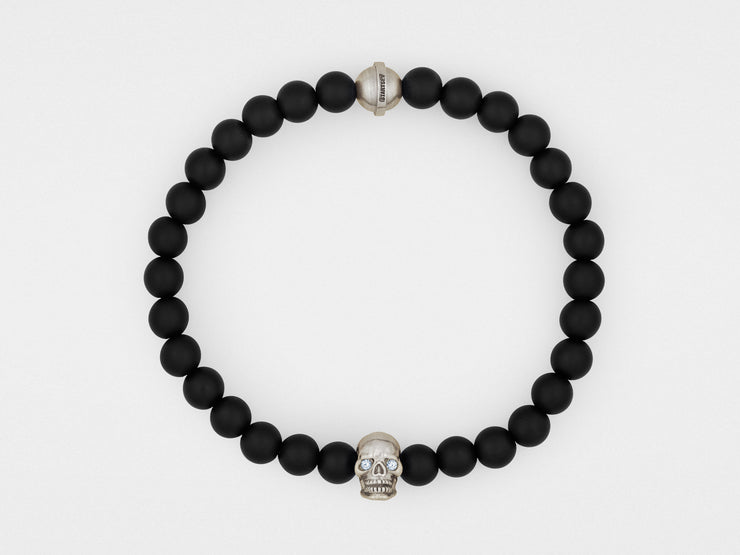 Skull Bracelet in Sterling Silver with Diamond Eyes and Black Onyx