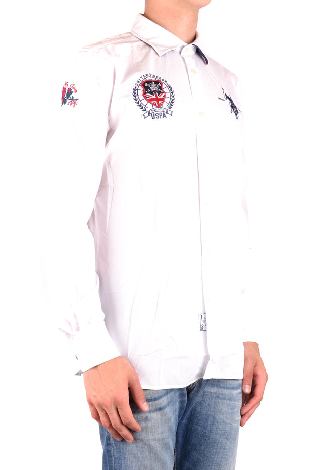 Shirt U.S. Polo long sleeve in white with logo