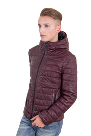 Mens hooded leather down jacket red purple color TEO