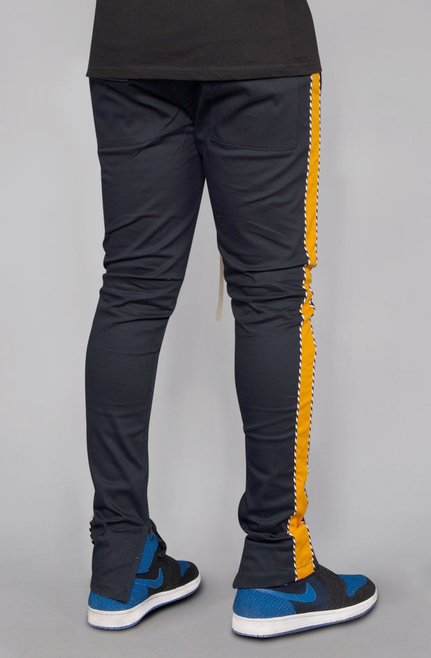 Striped Twill Track Pants with Piping (Navy/Orange)