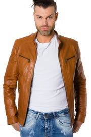 Lamb leather jacket biker style vintage aspect tan colour Roberto