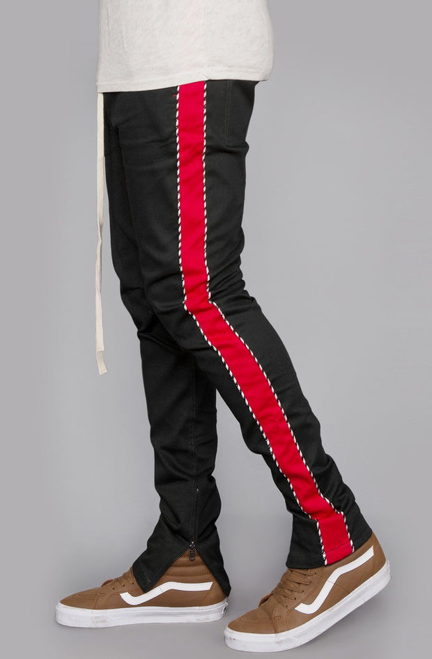 Striped Twill Track Pants with Piping (Olive/Red)