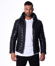 Men's Leather Down Jacket, genuine soft leather, central zip, black color, mod. Teo