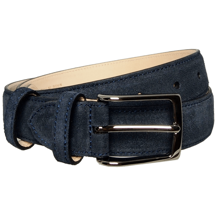 30mm Sartorial Suede Belt Navy