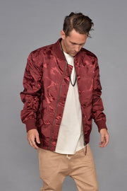 Tonal Fatigue Bomber Jacket (Burgundy)