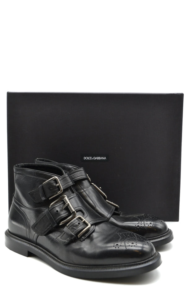 Triple strap leather boots Dolce & Gabbana