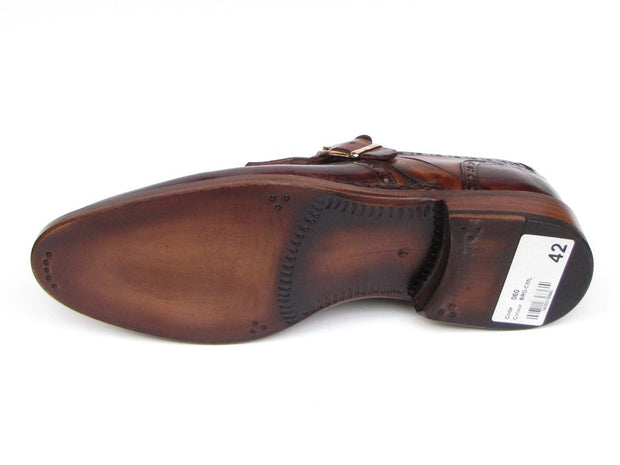 Paul Parkman Men's Wingtip Monkstrap Brogues Brown  Leather Upper With Double Leather Sole