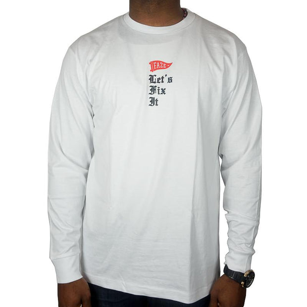 Let's Fix It Long-sleeve Tee in white