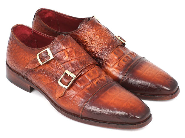 Paul Parkman Men's Double Monkstrap Brown Crocodile Embossed Calfskin